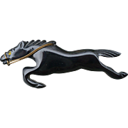 Black Bakelite Horse Pin
