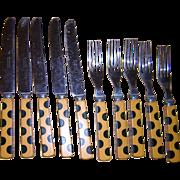 Bakelite Polkadot Flatware 10 Pieces