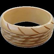Wide Carved Bakelite Bracelet