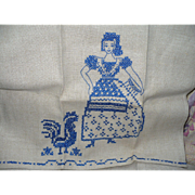 Girl Chicken Embroidered Towel