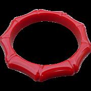 Red Bakelite Bamboo Carved Bracelet