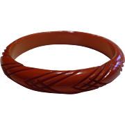 Orange Carved Bakelite Bracelet