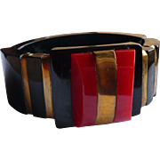 Black Red Bakelite Hinge Bracelet