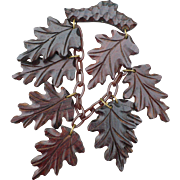 Carved Wood Dangle Leaf Pin