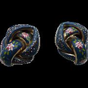 Blue Floral Enamel Earrings