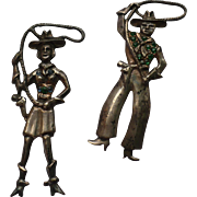 Sterling Cowboy & Cowgirl Pins