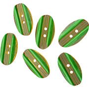 Six Applejuice Green Bakelite Buttons