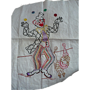 Juggling Clown Embroidered Square
