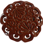 Carved Floral Bakelite Pin