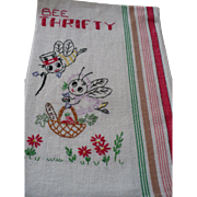 Bee Thrifty Embroidered Towel