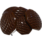 Carved Brown Bakelite Buttons