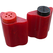 Red Bakelite Salt & Pepper Set