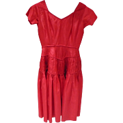 Red Taffeta Dress 1950's