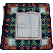 Navy Tulip Handkerchiefs