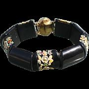 Floral Celluloid Link Bracelet