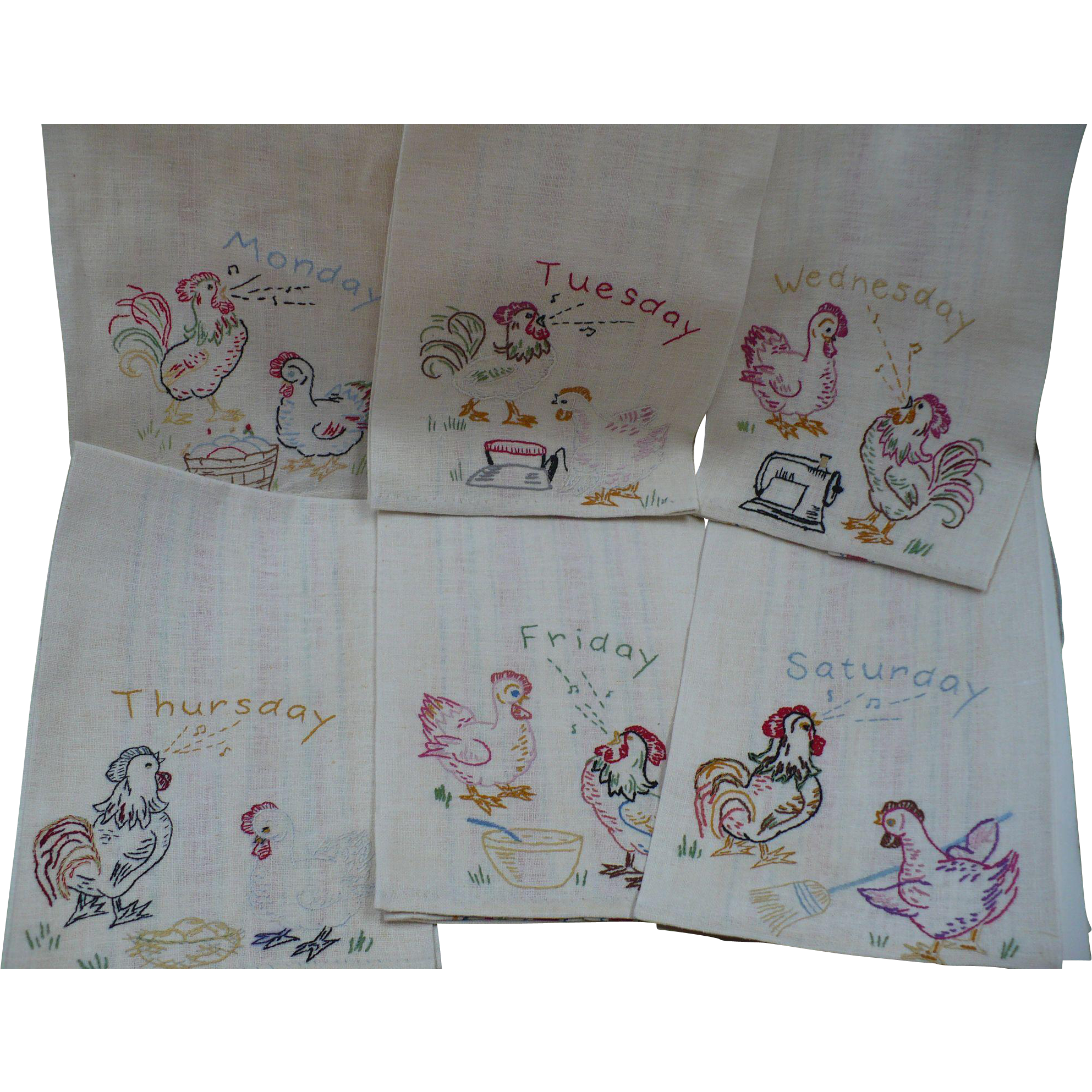 Rooster Chicken Days of the Week Towels