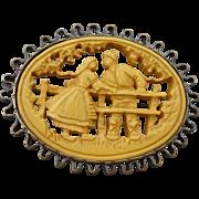 Carved Bakelite Pin