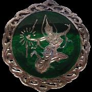 Sterling Enamel  Siam Round Pin