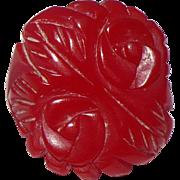 Red Carved Bakelite Ring