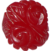 Red Carved Bakelite Ring