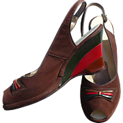 Brown Suede Sling Back Shoes