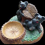 Chalkware Bears Trinket Dish