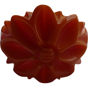 Bakelite Floral Carved Ring