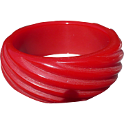 Red Carved Bakelite Bracelet