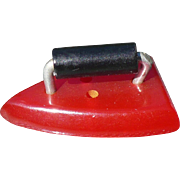 Bakelite Red Iron Button