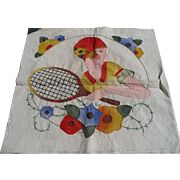 Embroidered Tennis Pillow Top