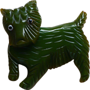 Bakelite Movable Green Dog Pin