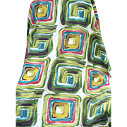 Geometric Barkcloth Drapery Panel