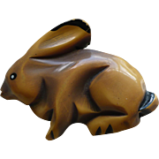 Bakelite Overdye Rabbit Pin