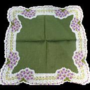Green Floral Handkerchief