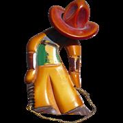 Bakelite Cowboy Pin