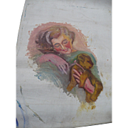 Unfinished Painting Lady & Dog