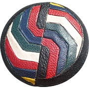 Inlaid Leather Button