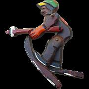 Wood Skier Pin