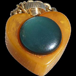 Bakelite Heart Perfume Charm