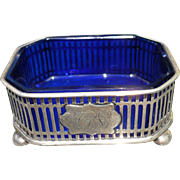 Sterling Salt Cellar Cobalt Glass