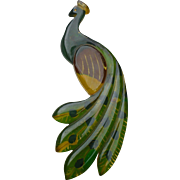 Bakelite  Peacock Reverse Painted Carved Pin