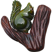 Wood Bakelite Squirrel in Tree Pin