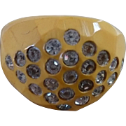 Rhinestone Bakelite Ring
