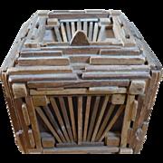 Folk Art Wooden Stick Box