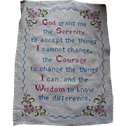 Serenity Prayer Embroidered Sampler