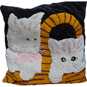Needlepunch Cat Pillow