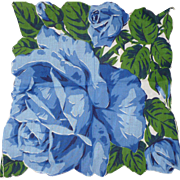 Large Blue Rose Handkerchief
