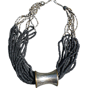 Black Bead Silvertone Necklace