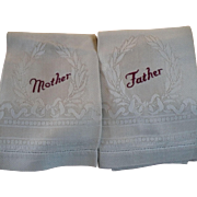 Mother Father Damask Towels