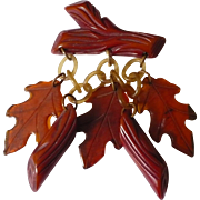 Bakelite Autumn Leaves & Logs Pin